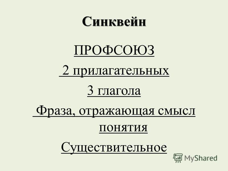 Синквейн ПРОФСОЮЗ 2 прилагательных 3 глагола Фраза, отражающая смысл понятия Существительное