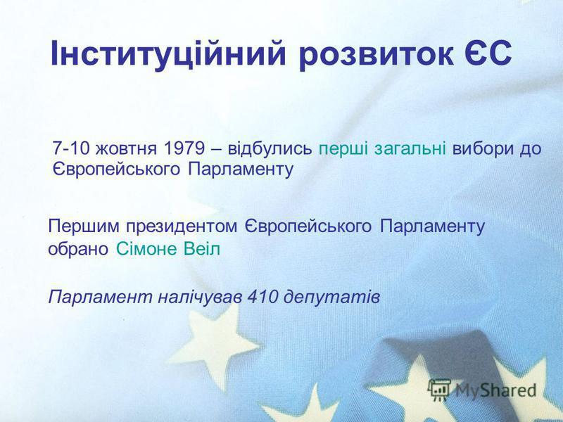 Інституційний розвиток ЄС 7-10 жовтня 1979 – відбулись перші загальні вибори до Європейського Парламенту Першим президентом Європейського Парламенту обрано Сімоне Веіл Парламент налічував 410 депутатів