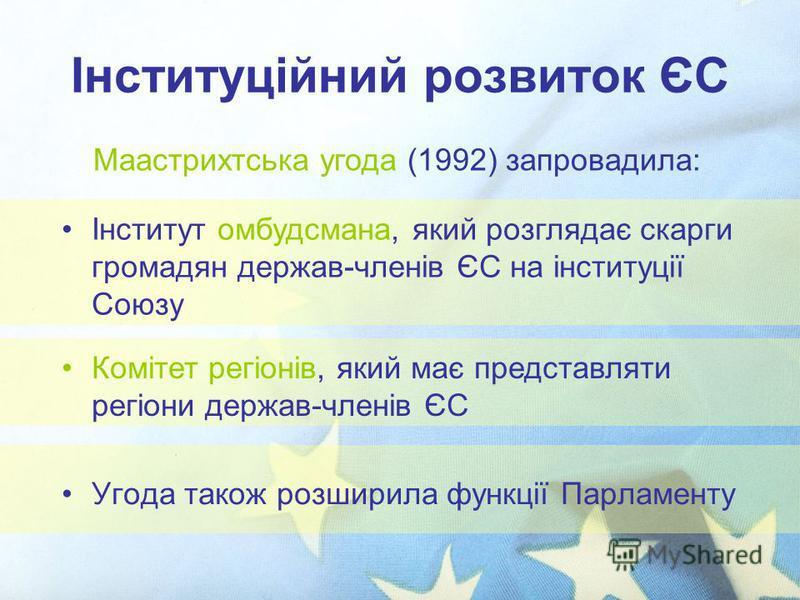 Інституційний розвиток ЄС Угода також розширила функції Парламенту Маастрихтська угода (1992) запровадила: Інститут омбудсмана, який розглядає скарги громадян держав-членів ЄС на інституції Союзу Комітет регіонів, який має представляти регіони держав