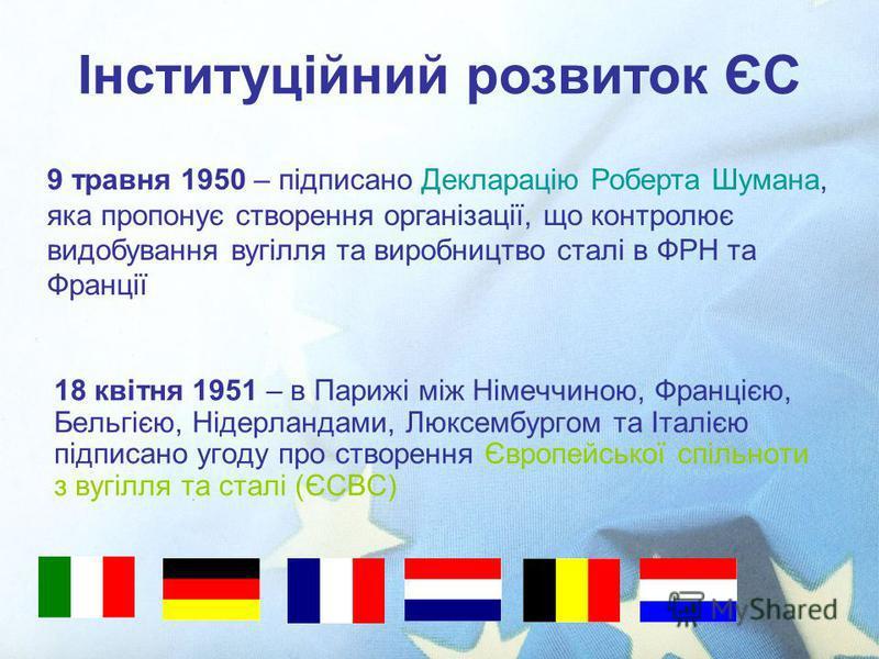 18 квітня 1951 – в Парижі між Німеччиною, Францією, Бельгією, Нідерландами, Люксембургом та Італією підписано угоду про створення Європейської спільноти з вугілля та сталі (ЄСВС) Інституційний розвиток ЄС 9 травня 1950 – підписано Декларацію Роберта