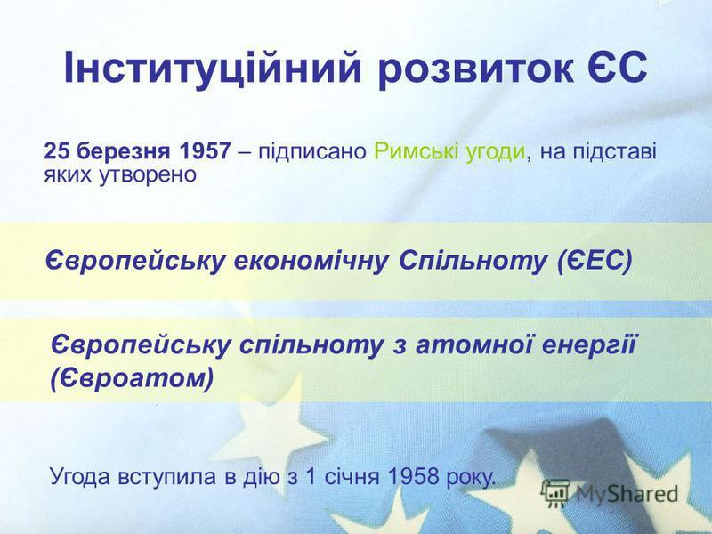 Інституційний розвиток ЄС 25 березня 1957 – підписано Римські угоди, на підставі яких утворено Угода вступила в дію з 1 січня 1958 року. Європейську спільноту з атомної енергії (Євроатом) Європейську економічну Спільноту (ЄЕС)