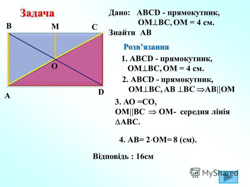 Задача Задача Дано: АВСD - прямокутник, ОМ ВС, ОМ = 4 см. Знайти АВ B А С D O M Розвязання Розвязання 1. АВСD - прямокутник, ОМ ВС, ОМ = 4 см. 2. АВСD - прямокутник, ОМ ВС, АВ ВС АВ ОМ 3. АО =СО, ОМ ВС ОМ- середня лінія АВС. 4. АВ= 2 ОМ= 8 (см). Відп