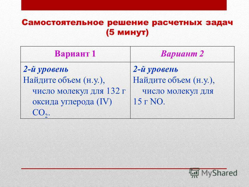 Самостоятельное решение расчетных задач (5 минут) Вариант 1Вариант 2 2-й уровень Найдите объем (н.у.), число молекул для 132 г оксида углерода (IV) СО 2. 2-й уровень Найдите объем (н.у.), число молекул для 15 г NO.