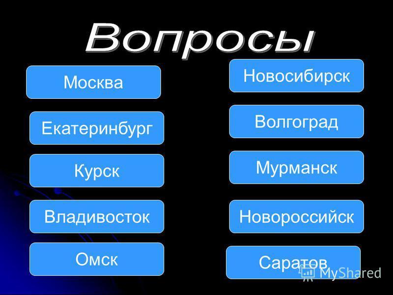 Москва Екатеринбург Владивосток Омск Мурманск Волгоград Новосибирск Новороссийск Курск Саратов