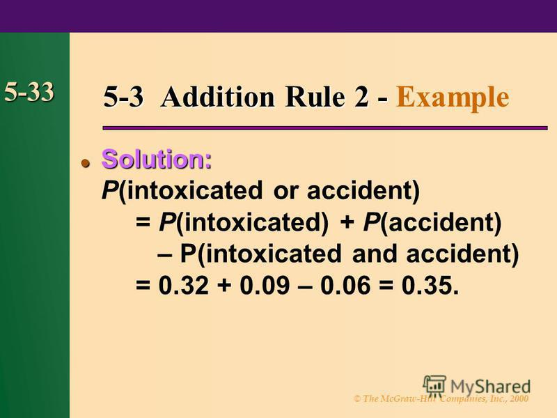 © The McGraw-Hill Companies, Inc., 2000 5-33 5-3 Addition Rule 2 - 5-3 Addition Rule 2 - Example Solution: Solution: P(intoxicated or accident) = P(intoxicated) + P(accident) – P(intoxicated and accident) = 0.32 + 0.09 – 0.06 = 0.35.