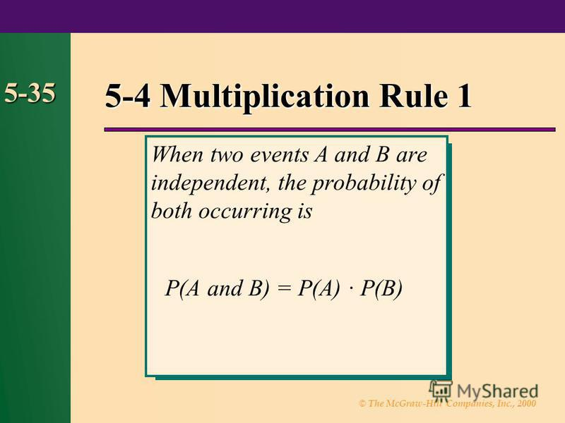 © The McGraw-Hill Companies, Inc., 2000 5-35 5-4 Multiplication Rule 1 When two events A and B are independent, the probability of both occurring is P(A and B) = P(A) · P(B)