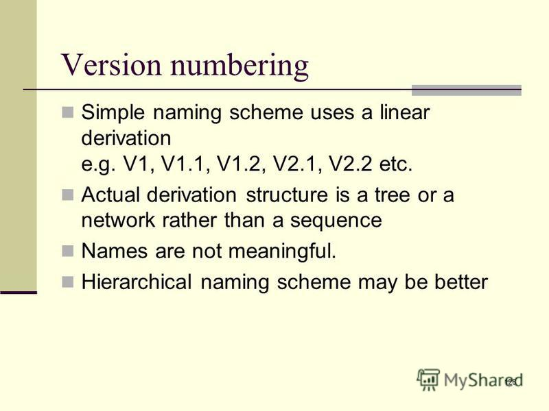 128 Simple naming scheme uses a linear derivation e.g. V1, V1.1, V1.2, V2.1, V2.2 etc. Actual derivation structure is a tree or a network rather than a sequence Names are not meaningful. Hierarchical naming scheme may be better Version numbering