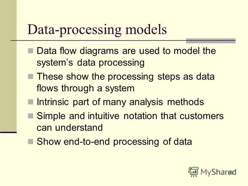 42 Data-processing models Data flow diagrams are used to model the systems data processing These show the processing steps as data flows through a system Intrinsic part of many analysis methods Simple and intuitive notation that customers can underst