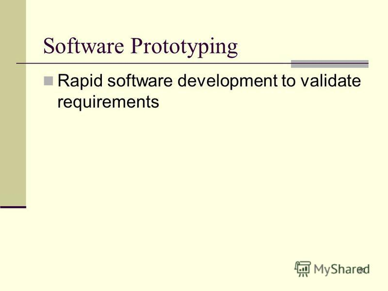 50 Software Prototyping Rapid software development to validate requirements