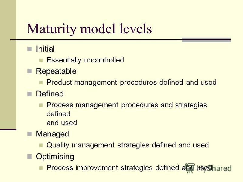 97 Initial Essentially uncontrolled Repeatable Product management procedures defined and used Defined Process management procedures and strategies defined and used Managed Quality management strategies defined and used Optimising Process improvement