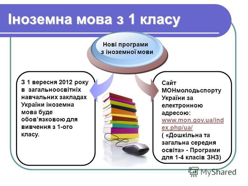 Іноземна мова з 1 класу З 1 вересня 2012 року в загальноосвітніх навчальних закладах України іноземна мова буде обовязковою для вивчення з 1-ого класу. Нові програми з іноземної мови Сайт МОНмолодьспорту України за електронною адресою: www.mon.gov.ua
