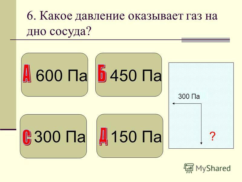 6. Какое давление оказывает газ на дно сосуда? 300 Па ? 600 Па 450 Па 300 Па 150 Па