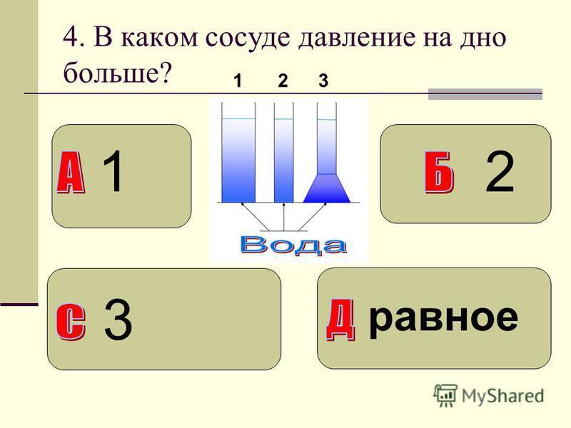 4. В каком сосуде давление на дно больше? 123 1 3 2 равное