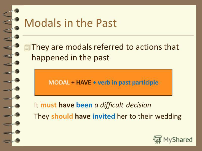 Modals in the Past 4T4They are modals referred to actions that happened in the past It must have been a difficult decision They should have invited her to their wedding MODAL + HAVE + verb in past participle