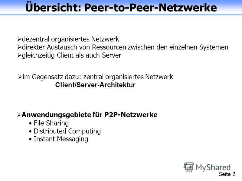 Übersicht: Peer-to-Peer-Netzwerke Seite 2 dezentral organisiertes Netzwerk direkter Austausch von Ressourcen zwischen den einzelnen Systemen gleichzeitig Client als auch Server im Gegensatz dazu: zentral organisiertes Netzwerk Client/Server-Architekt