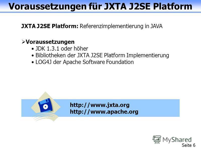 Voraussetzungen für JXTA J2SE Platform Seite 6 JXTA J2SE Platform: Referenzimplementierung in JAVA Voraussetzungen JDK 1.3.1 oder höher Bibliotheken der JXTA J2SE Platform Implementierung LOG4J der Apache Software Foundation http://www.jxta.org http:
