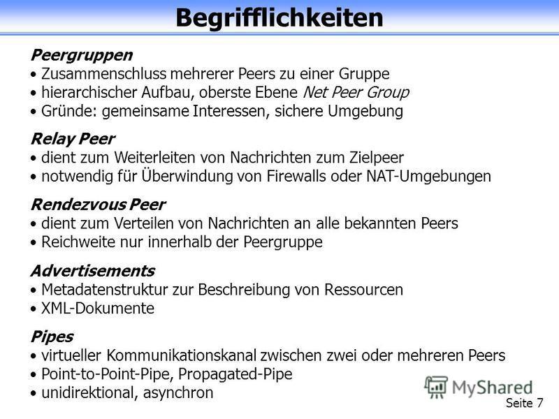 Begrifflichkeiten Seite 7 Peergruppen Zusammenschluss mehrerer Peers zu einer Gruppe hierarchischer Aufbau, oberste Ebene Net Peer Group Gründe: gemeinsame Interessen, sichere Umgebung Relay Peer dient zum Weiterleiten von Nachrichten zum Zielpeer no