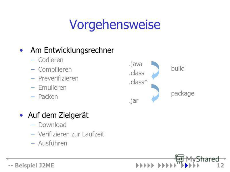 -- Beispiel J2ME12 Vorgehensweise build.class.class*.jar.java package –Compilieren –Preverifizieren –Emulieren –Packen Auf dem Zielgerät –Download –Verifizieren zur Laufzeit –Ausführen Am Entwicklungsrechner –Codieren