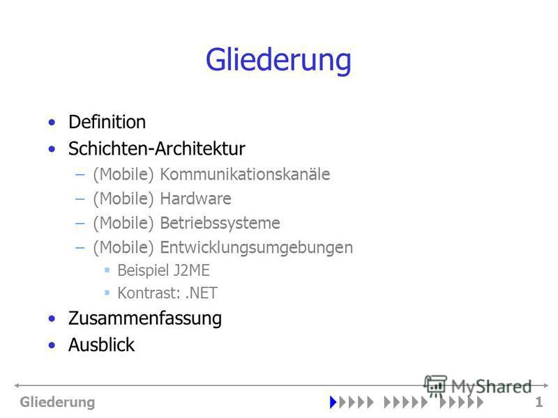 Gliederung1 Definition Schichten-Architektur –(Mobile) Kommunikationskanäle –(Mobile) Hardware –(Mobile) Betriebssysteme –(Mobile) Entwicklungsumgebungen Beispiel J2ME Kontrast:.NET Zusammenfassung Ausblick
