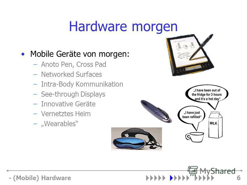 - (Mobile) Hardware6 Hardware morgen Mobile Geräte von morgen: –Anoto Pen, Cross Pad –Networked Surfaces –Intra-Body Kommunikation –See-through Displays –Innovative Geräte –Vernetztes Heim –Wearables