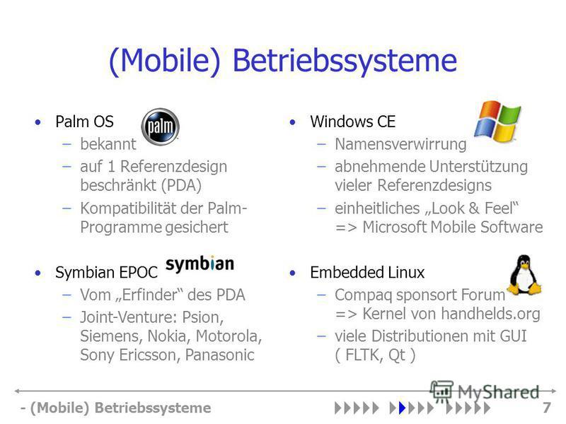 - (Mobile) Betriebssysteme7 (Mobile) Betriebssysteme Palm OS –bekannt –auf 1 Referenzdesign beschränkt (PDA) –Kompatibilität der Palm- Programme gesichert Windows CE –Namensverwirrung –abnehmende Unterstützung vieler Referenzdesigns –einheitliches Lo