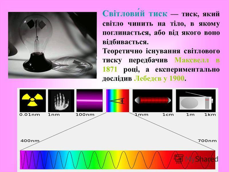 Світлови́й тиск тиск, який світло чинить на тіло, в якому поглинається, або від якого воно відбивається. Теоретично існування світлового тиску передбачив Максвелл в 1871 році, а експериментально дослідив Лебедєв у 1900.