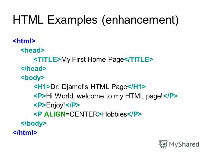 HTML Examples (cont.)