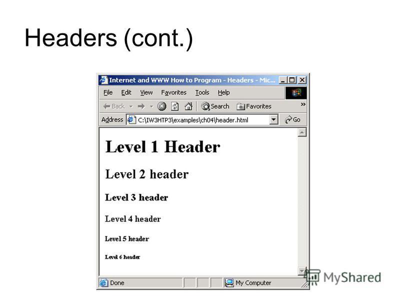 Headers (cont.) Headers Level 1 Header Level 2 Header Level 3 Header Level 4 Header Level 5 Header Level 6 Header