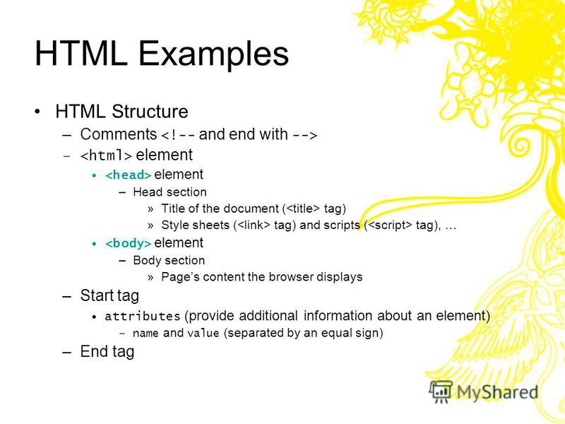 Editing HTML HTML documents –Source-code form –Text editor (e.g. Notepad, Wordpad, emacs, etc.) –.html or.htm file-name extension –Web server Apache, Internet Information Services (I I S) Stores HTML documents –Web browser Requests HTML documents