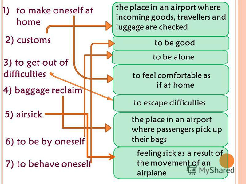 to be alone 2) customs feeling sick as a result of the movement of an airplane to feel comfortable as if at home the place in an airport where passengers pick up their bags the place in an airport where incoming goods, travellers and luggage are chec