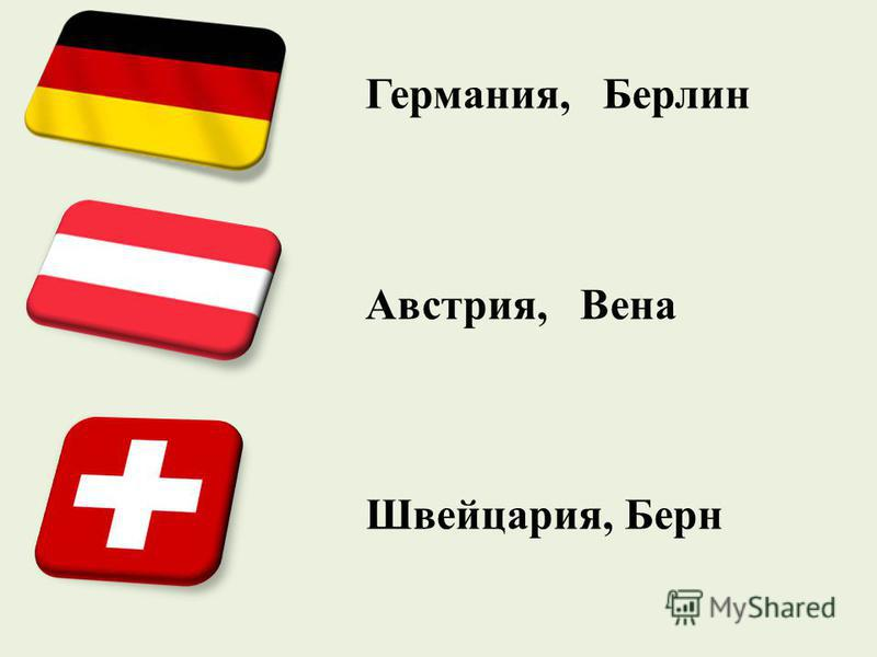 Германия, Берлин Австрия, Вена Швейцария, Берн
