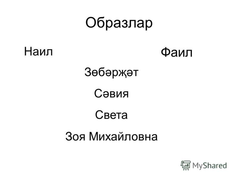 Образлар Наил Фаил Зөбәрҗәт Сәвия Света Зоя Михайловна