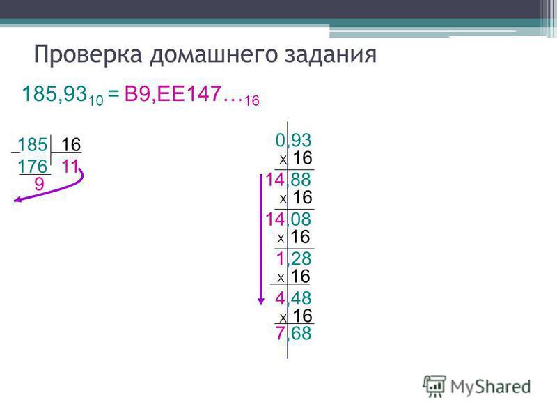 14,88 176 16 Проверка домашнего задания 185,93 10 = В9,ЕЕ147… 16 185 9 11 0,93 Х 16 14,08 Х 16 1,28 Х 16 4,48 Х 16 7,68