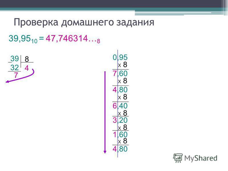 7,60 32 8 Проверка домашнего задания 39,95 10 = 47,746314… 8 39 7 4 0,95 Х 8 4,80 Х 8 6,40 Х 8 3,20 Х 8 1,60 Х 8 4,80