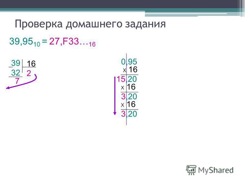15,20 32 16 Проверка домашнего задания 39,95 10 = 27,F33… 16 39 7 2 0,95 Х 16 3,20 Х 16 3,20