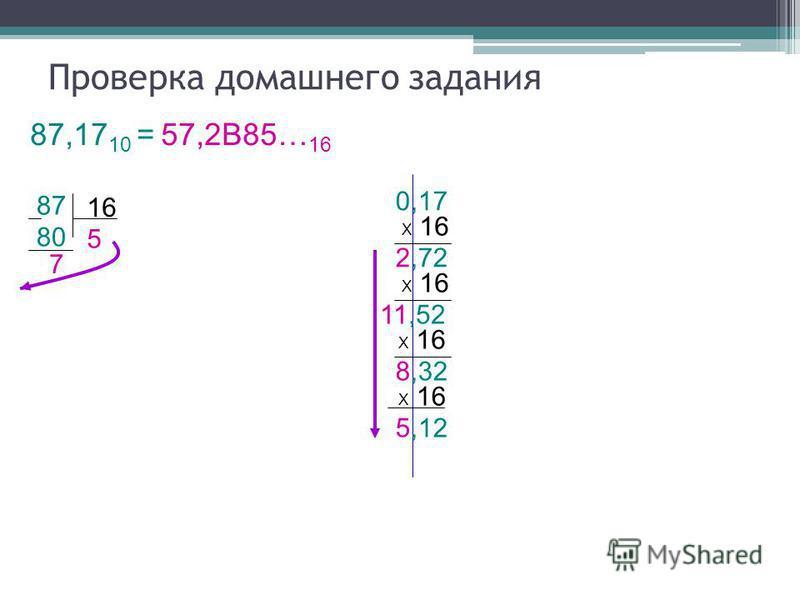 2,72 80 16 Проверка домашнего задания 87,17 10 = 57,2В85… 16 87 7 5 0,17 Х 16 11,52 Х 16 8,32 Х 16 5,12