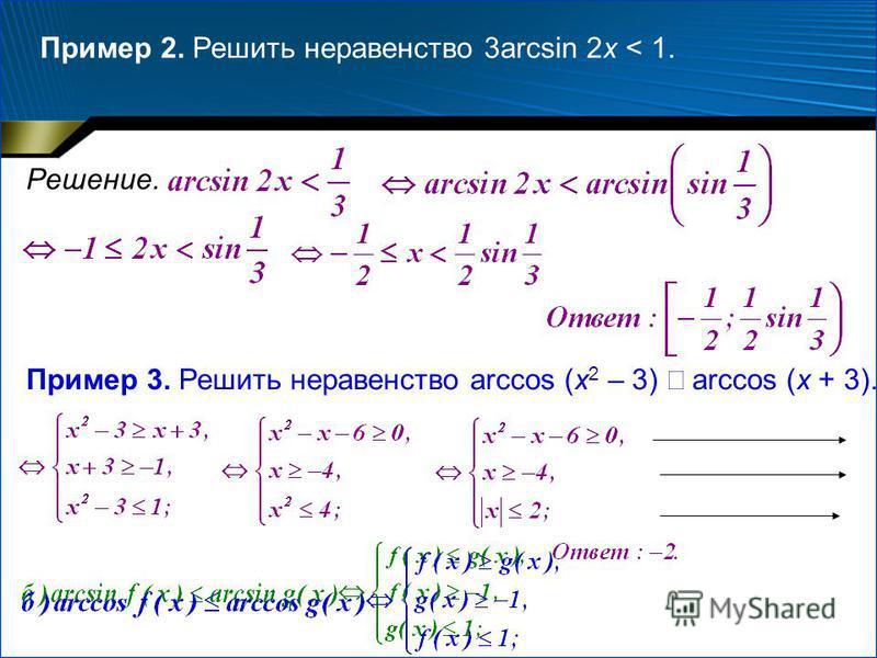 Пример 2. Решить неравенство 3arcsin 2x < 1. Решение. Пример 3. Решить неравенство arccos (x 2 – 3) arccos (x + 3).
