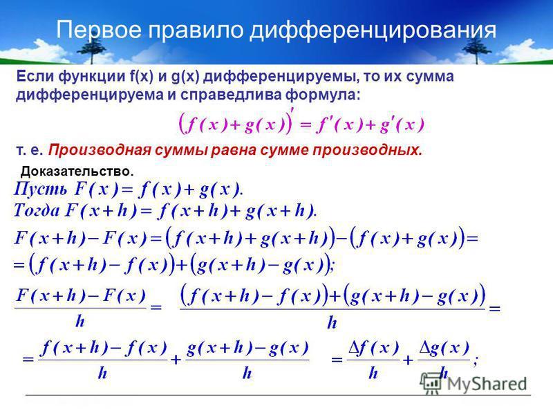 Первое правило дифференцирования Если функции f(x) и g(x) дифференцируемы, то их сумма дифференцируема и справедлива формула: т. е. Производная суммы равна сумме производных. Доказательство.