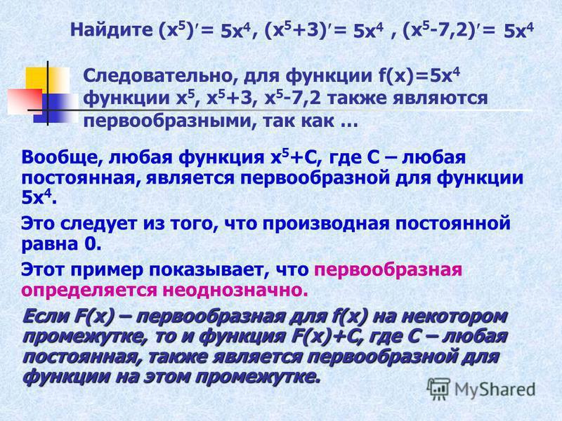 Найдите (х 5 ) =, (х 5 +3) =, (х 5 -7,2) = Вообще, любая функция х 5 +С, где С – любая постоянная, является первообразной для функции 5 х 4. Это следует из того, что производная постоянной равна 0. Этот пример показывает, что первообразная определяет