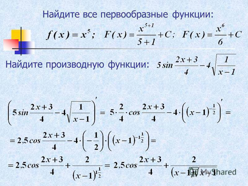 Найдите все первообразные функции: Найдите производную функции: