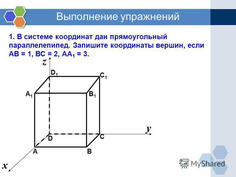 Выполнение упражнений 1. В системе координат дан прямоугольный параллелепипед. Запишите координаты вершин, если АВ = 1, ВС = 2, АА 1 = 3. C1C1 C A1A1 D1D1 B D х у z B1B1 А