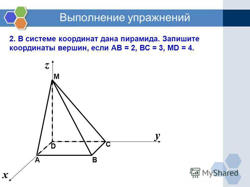 Выполнение упражнений 2. В системе координат дана пирамида. Запишите координаты вершин, если АВ = 2, ВС = 3, MD = 4. C М B D х у z А