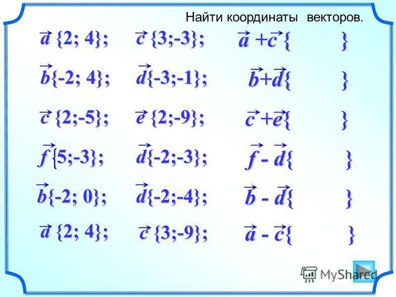 a +c { } a - c{ } b+d{ } c +e{ } f - d{ } b - d{ } Найти координаты векторов. d{-3;-1}; b{-2; 4}; a {2; 4}; c {2;-5}; e {2;-9}; f 5;-3}; c {3;-3}; d{-2;-3}; d{-2;-4}; b{-2; 0}; c {3;-9}; a {2; 4};