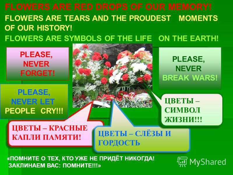 FLOWERS ARE RED DROPS OF OUR MEMORY! FLOWERS ARE TEARS AND THE PROUDEST MOMENTS OF OUR HISTORY! FLOWERS ARE SYMBOLS OF THE LIFE ON THE EARTH! ЦВЕТЫ – КРАСНЫЕ КАПЛИ ПАМЯТИ! ЦВЕТЫ – СЛЁЗЫ И ГОРДОСТЬ ЦВЕТЫ – СИМВОЛ ЖИЗНИ!!! PLEASE, NEVER FORGET! PLEASE,