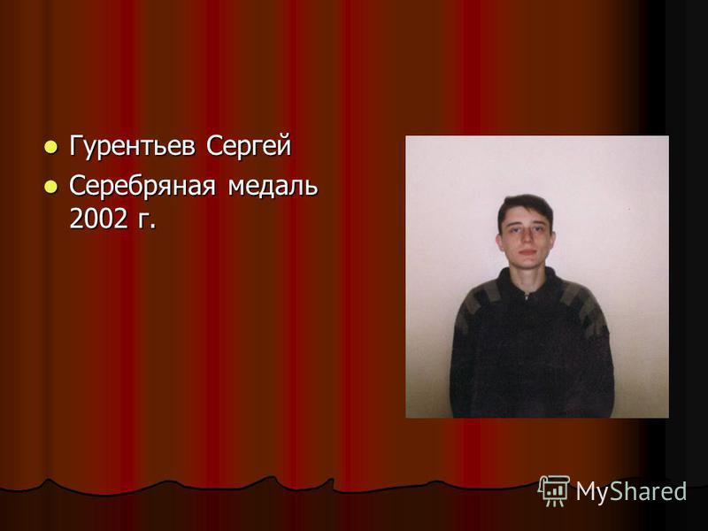 Гурентьев Сергей Гурентьев Сергей Серебряная медаль 2002 г. Серебряная медаль 2002 г.
