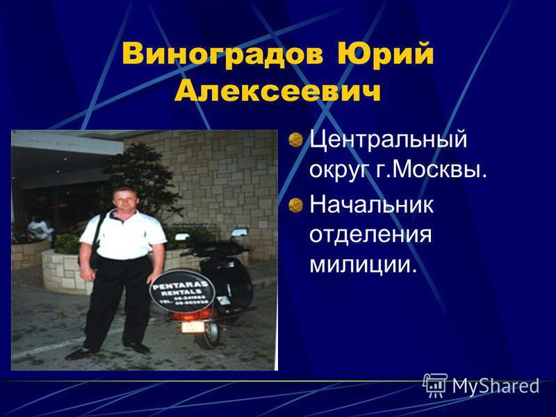 Виноградов Юрий Алексеевич Центральный округ г.Москвы. Начальник отделения милиции.