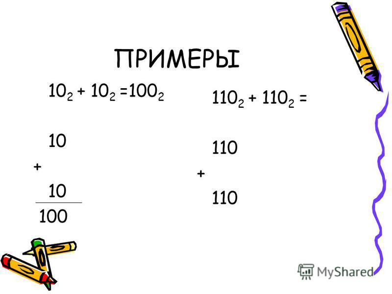 ПРИМЕРЫ 10 2 + 10 2 =100 2 10 + 10 100 110 2 + 110 2 = 110 + 110