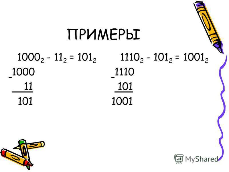 ПРИМЕРЫ 1000 2 - 11 2 = 101 2 1000 11 101 1110 2 - 101 2 = 1001 2 1110 101 1001