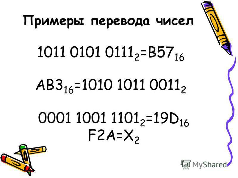Примеры перевода чисел 1011 0101 0111 2 =B57 16 AB3 16 =1010 1011 0011 2 0001 1001 1101 2 =19D 16 F2A=X 2