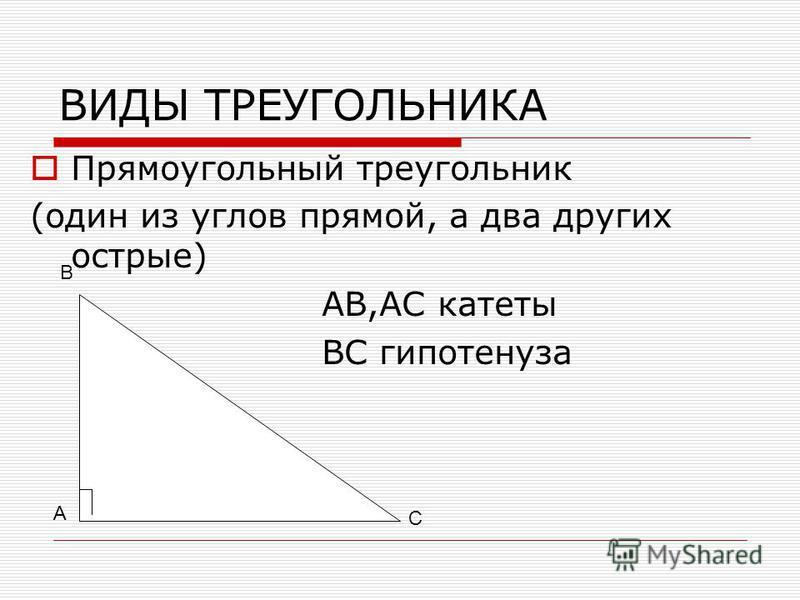 ВИДЫ ТРЕУГОЛЬНИКА Прямоугольный треугольник (один из углов прямой, а два других острые) АВ,АС катеты ВС гипотенуза А В С